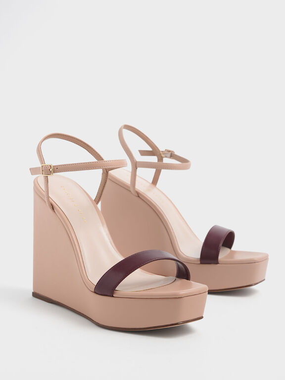 Two-Tone Square Toe Platform Wedges, Nude
