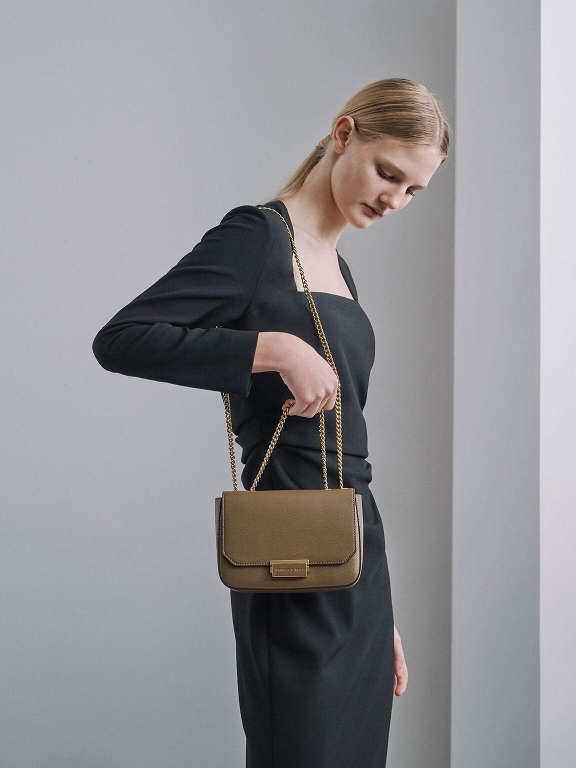 Double Chain Link Crossbody Bag, Khaki, hi-res