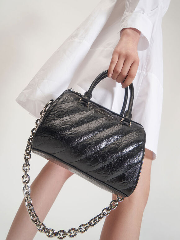 Panelled Tote Bag, Black, hi-res