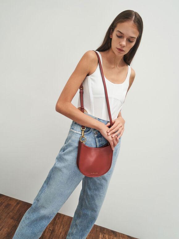 Ring Detail Hobo Bag, Red, hi-res
