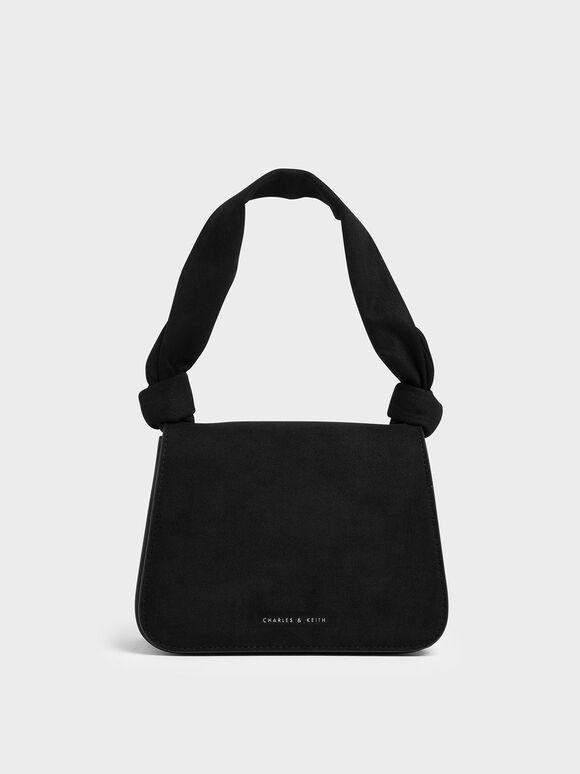 Textured Knot Handle Crossbody Bag, Black, hi-res