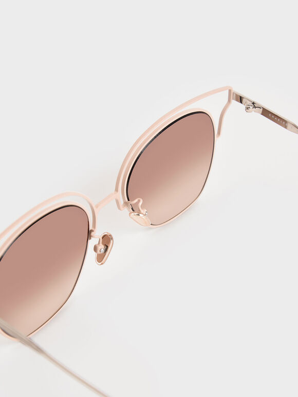 縷空蝴蝶框墨鏡, 粉紅色, hi-res