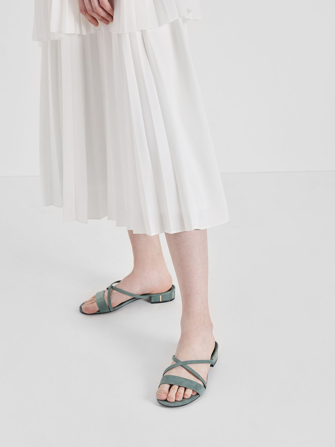 Criss Cross Strappy Slide Sandals, Mint Green, hi-res