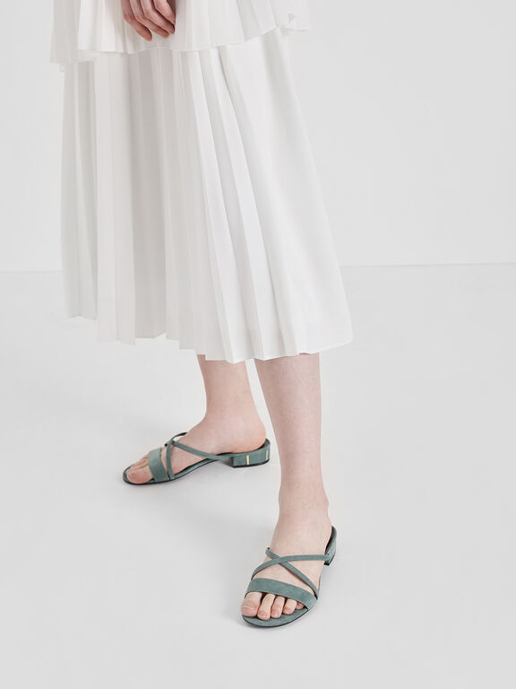 Criss Cross Strappy Sandals, Mint Green