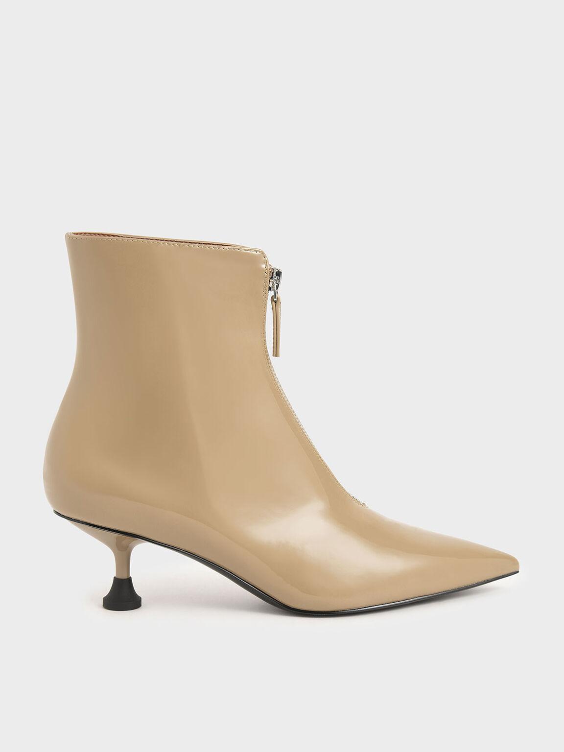 前拉鍊尖頭短靴, 沙黃色, hi-res