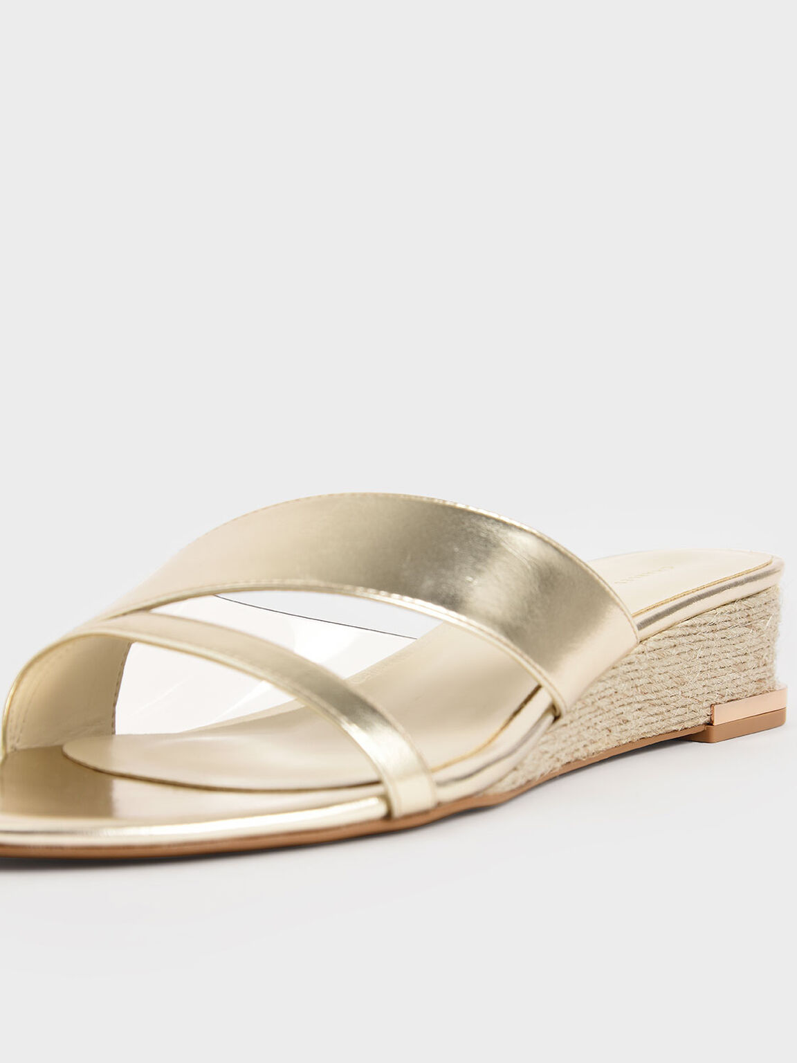 Metallic Strappy Wedges, Gold, hi-res
