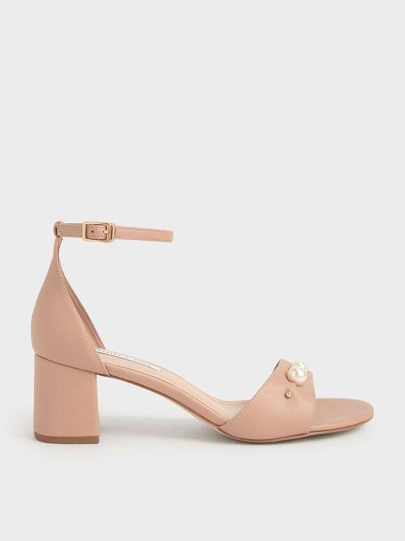 珍珠繞踝涼鞋, 膚色, hi-res