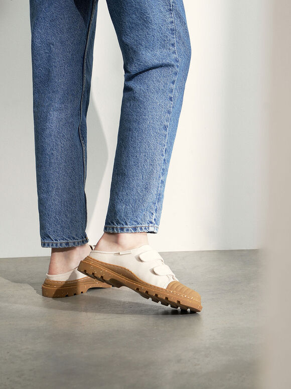 Summer 2020 Responsible Collection: Velcro Strap Sneaker Mules, Cream, hi-res