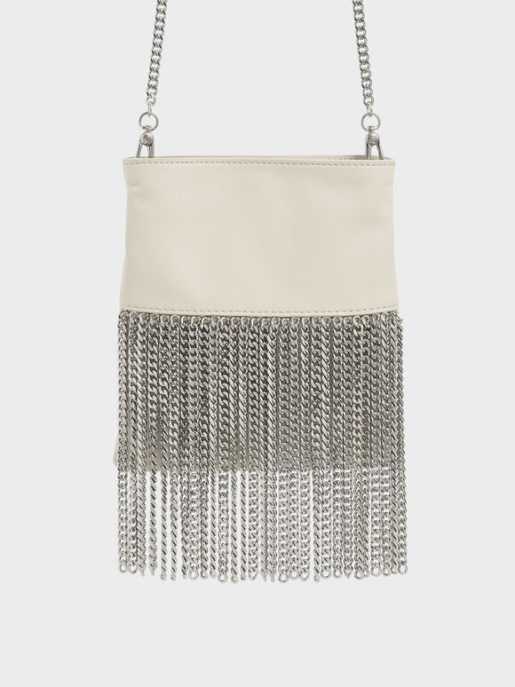 Chain Fringe Mini Crossbody Bag, Cream, hi-res