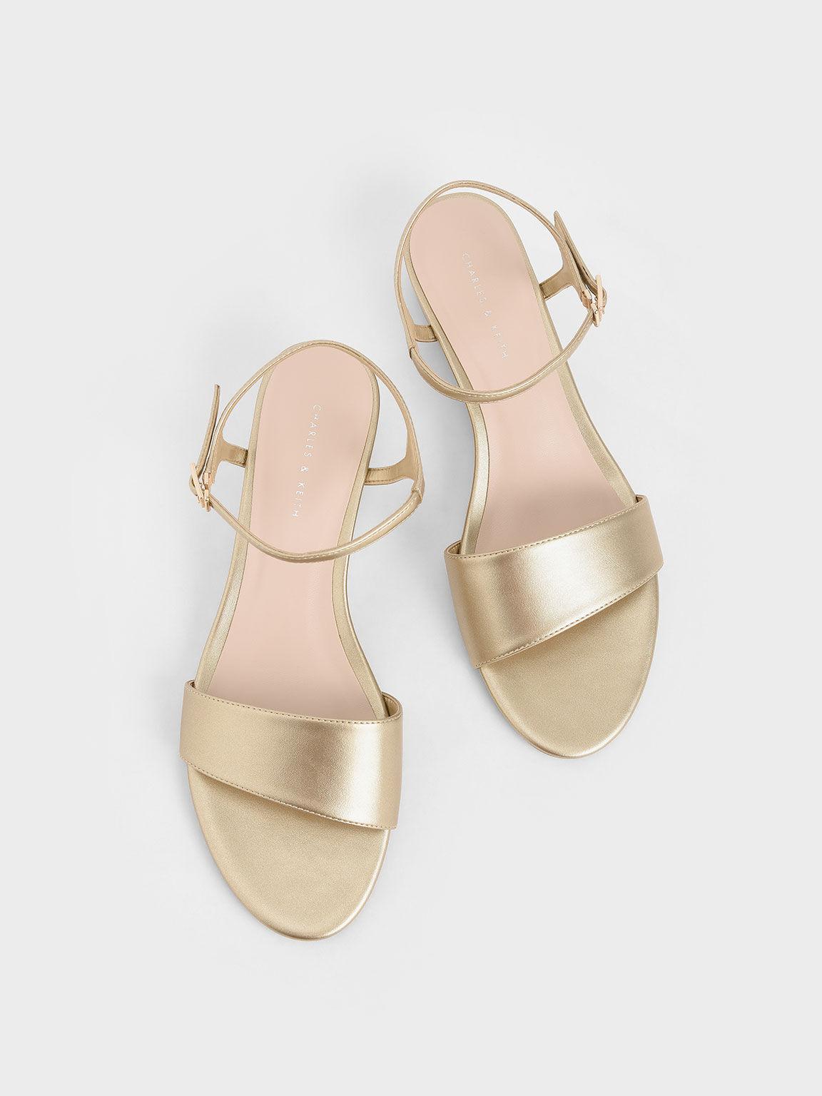 Asymmetric Wedge Sandals, Gold, hi-res