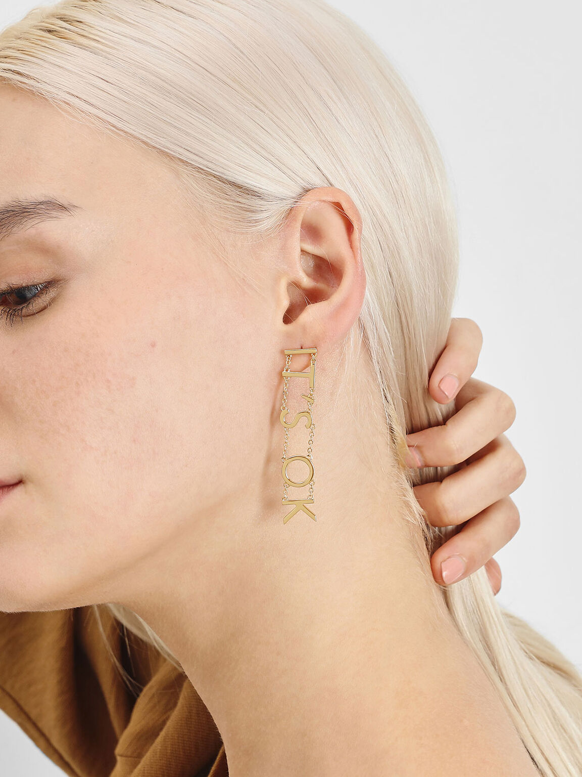 """IT'S OK"" Drop Earrings, Gold, hi-res"
