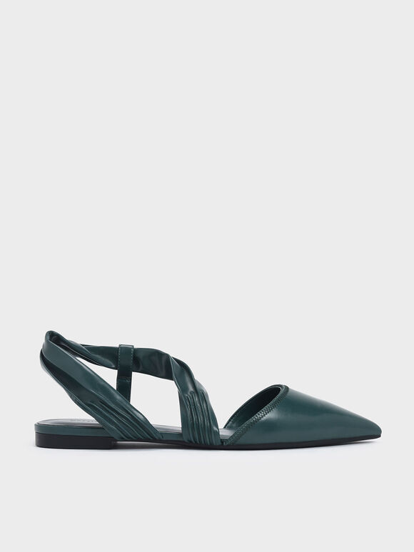 Ruched Strap Covered Flat Sandals, Green, hi-res