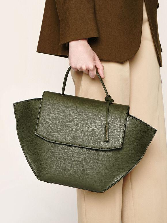Large Trapeze Top Handle Bag, Olive, hi-res