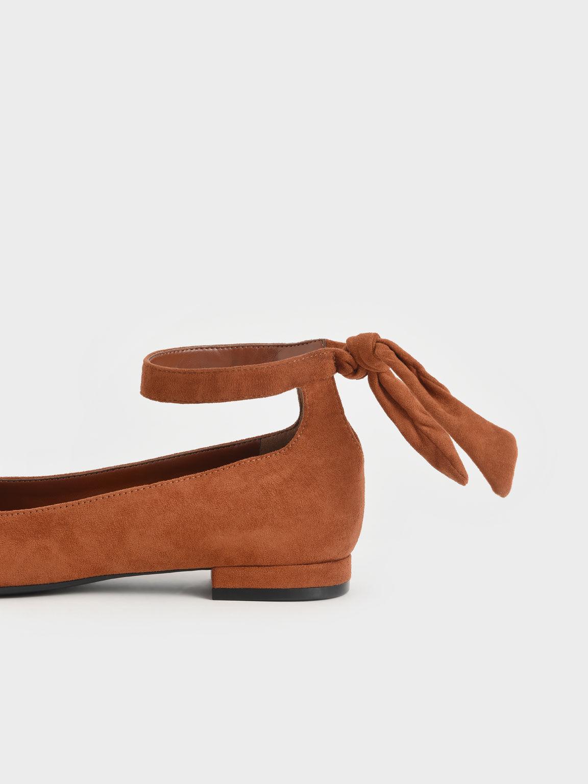 Textured Ankle Strap Ballerina Flats, Cognac, hi-res