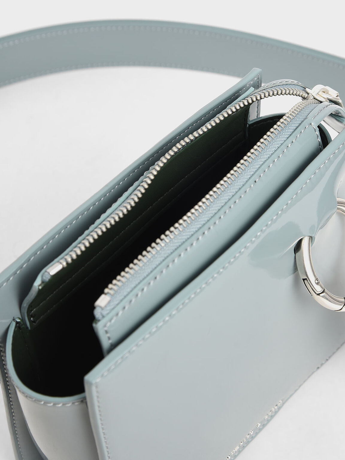 Patent Square Crossbody Bag, Slate Blue, hi-res
