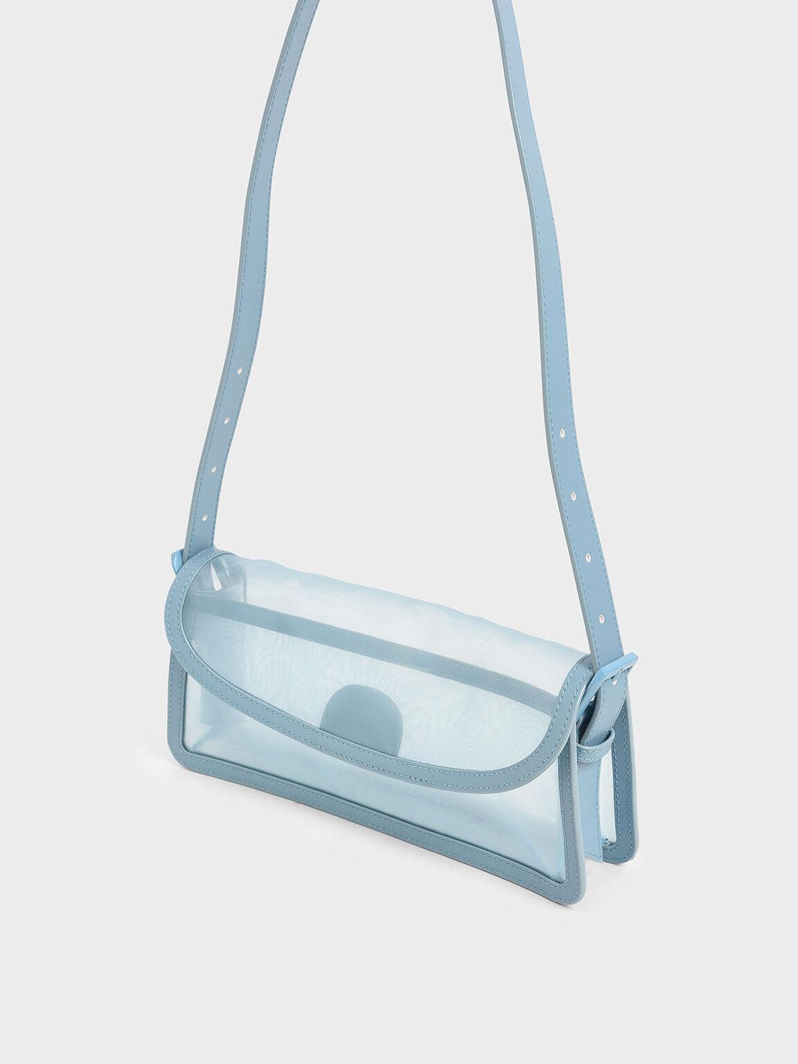 Mesh Shoulder Bag, Blue, hi-res