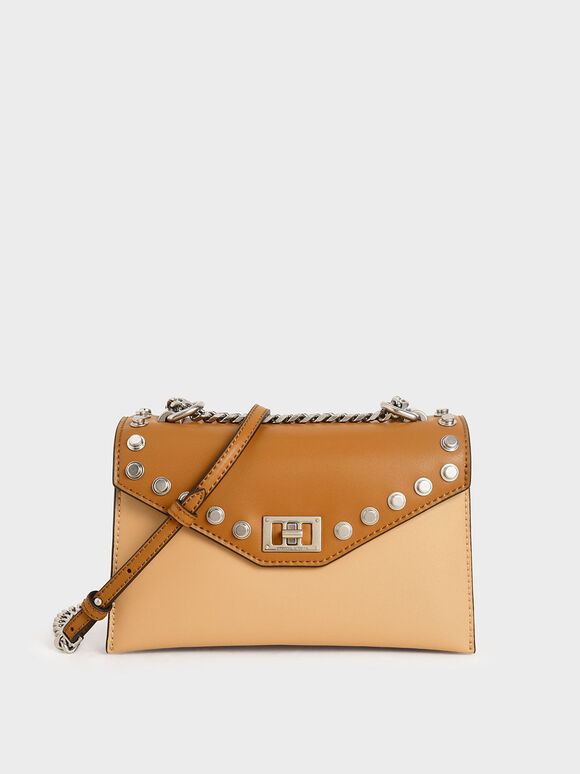 Studded Crossbody Bag, Nude, hi-res