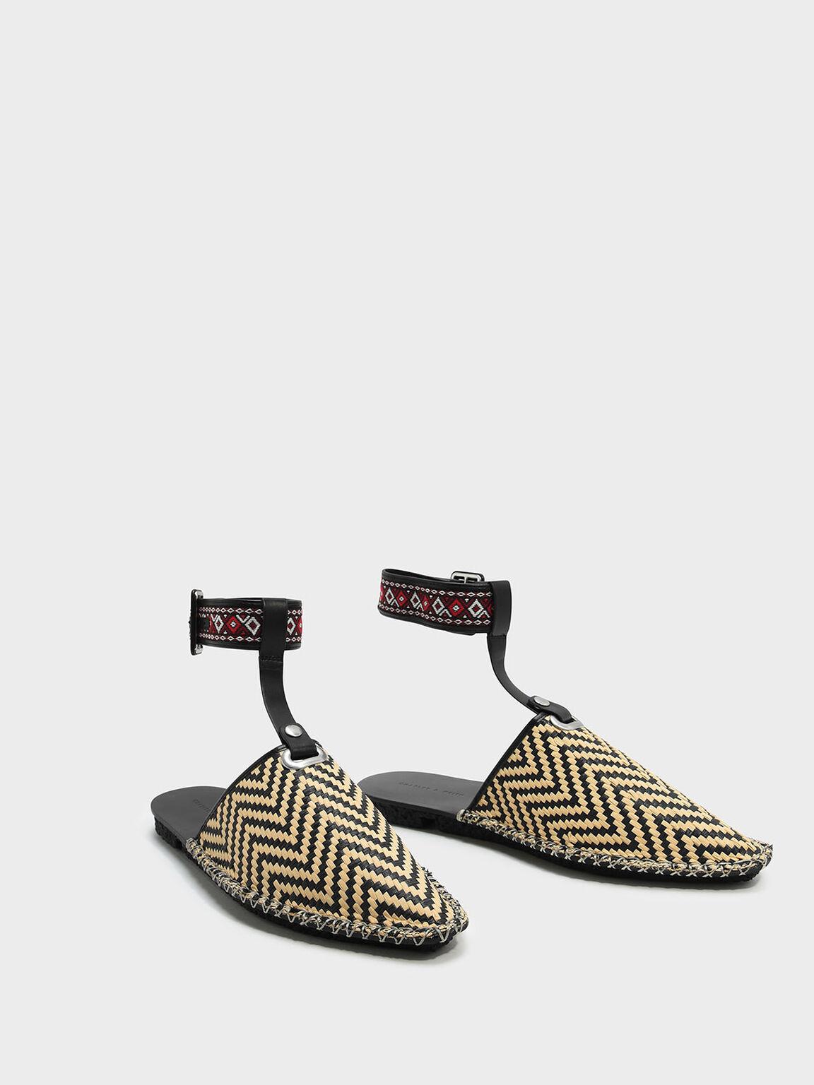 Ankle Strap Flats, Beige, hi-res