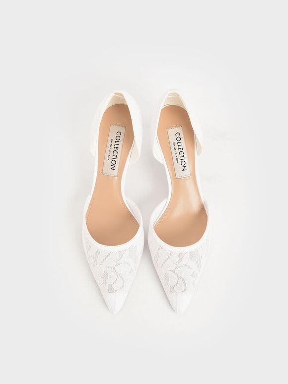 婚禮系列:花卉蕾絲奧賽鞋, 白色, hi-res