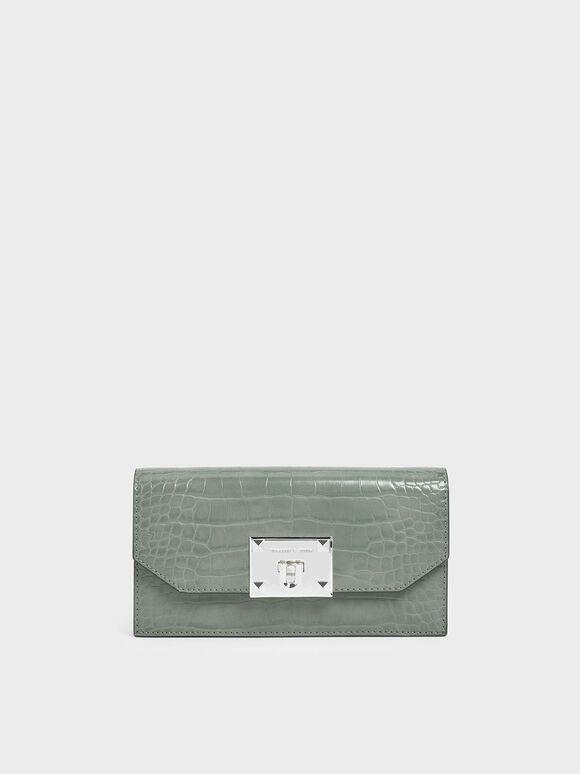 鱷魚紋金屬扣長夾, 灰綠色, hi-res