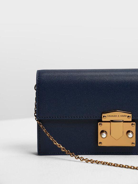 Metallic Push Lock Long Wallet, Dark Blue, hi-res