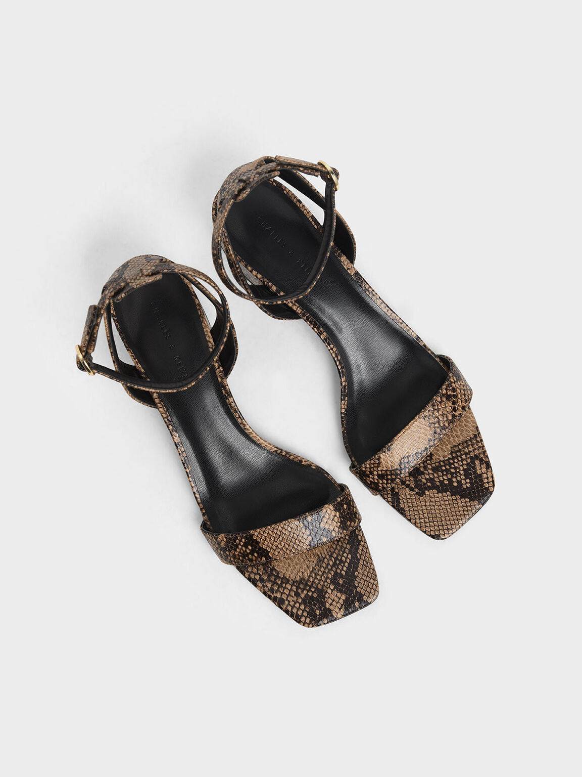 Snake Print Ankle Strap Block Heels, Brown, hi-res