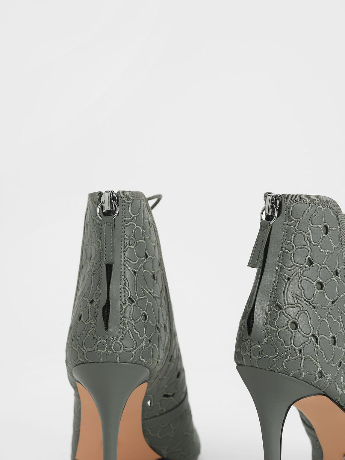 Floral Embroidery Lace-Up Peep Toe Ankle Boots, Sage Green, hi-res