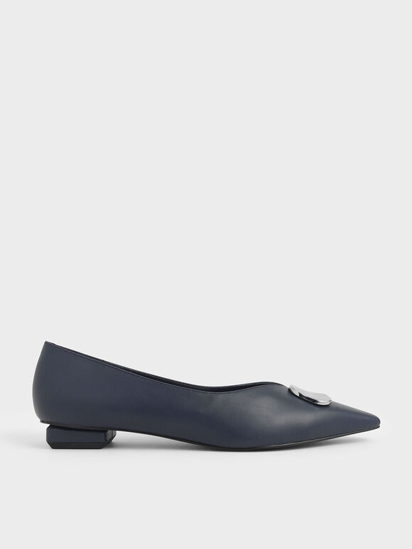 Metal Accented Ballerina Flats, Dark Blue, hi-res