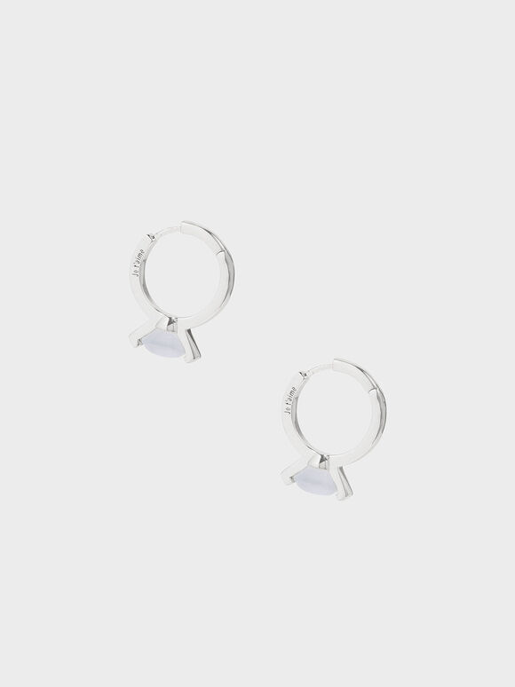 Chalcedony Stone Huggie Hoop Earrings, Silver, hi-res