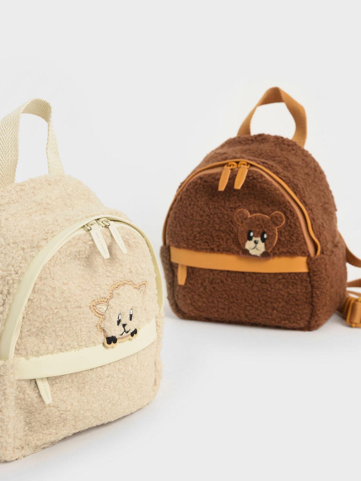 Girls' Lamb Motif Furry Backpack, Chalk, hi-res
