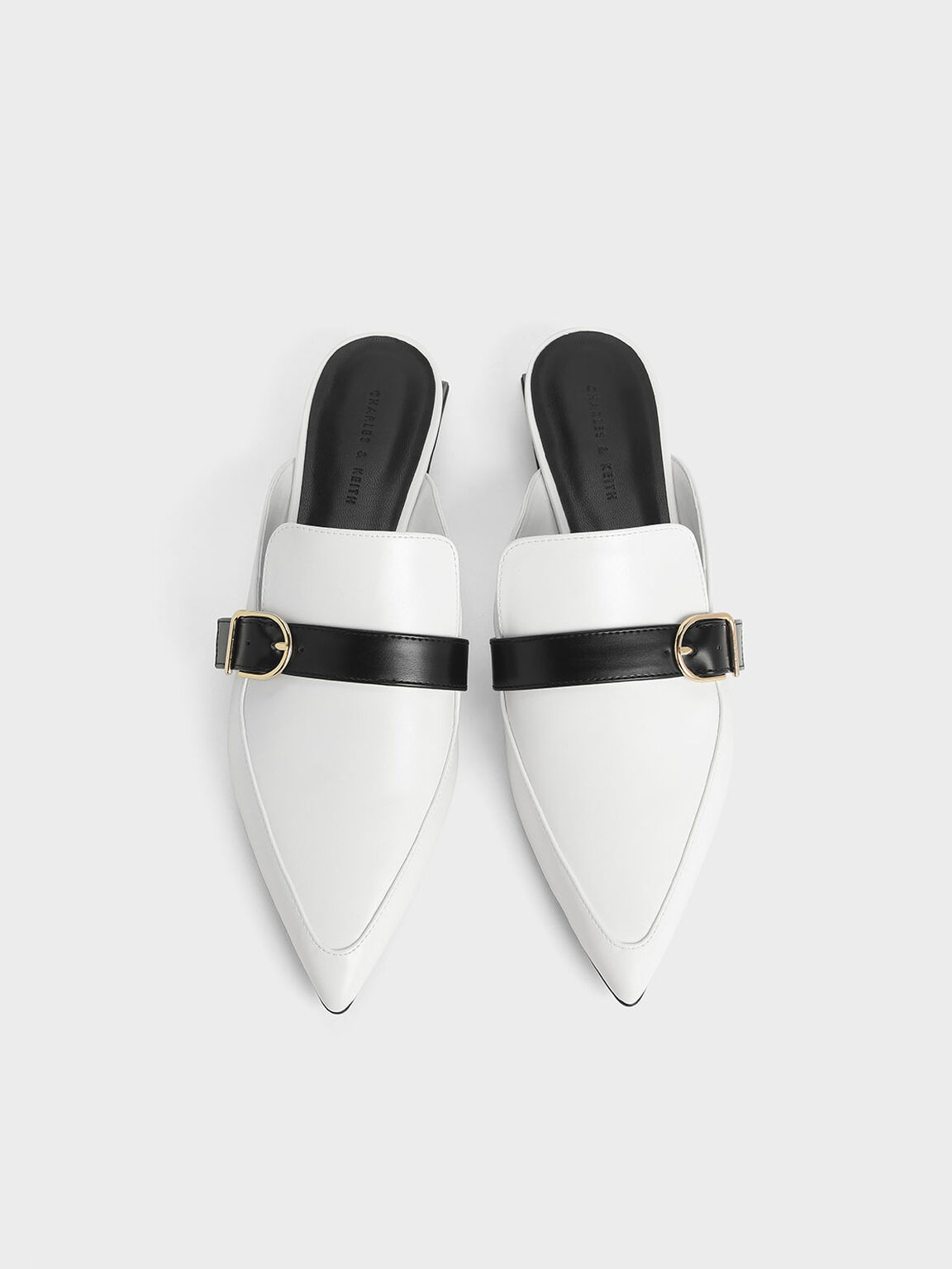 Two-Tone Sculptural Heel Buckle Mules, White, hi-res