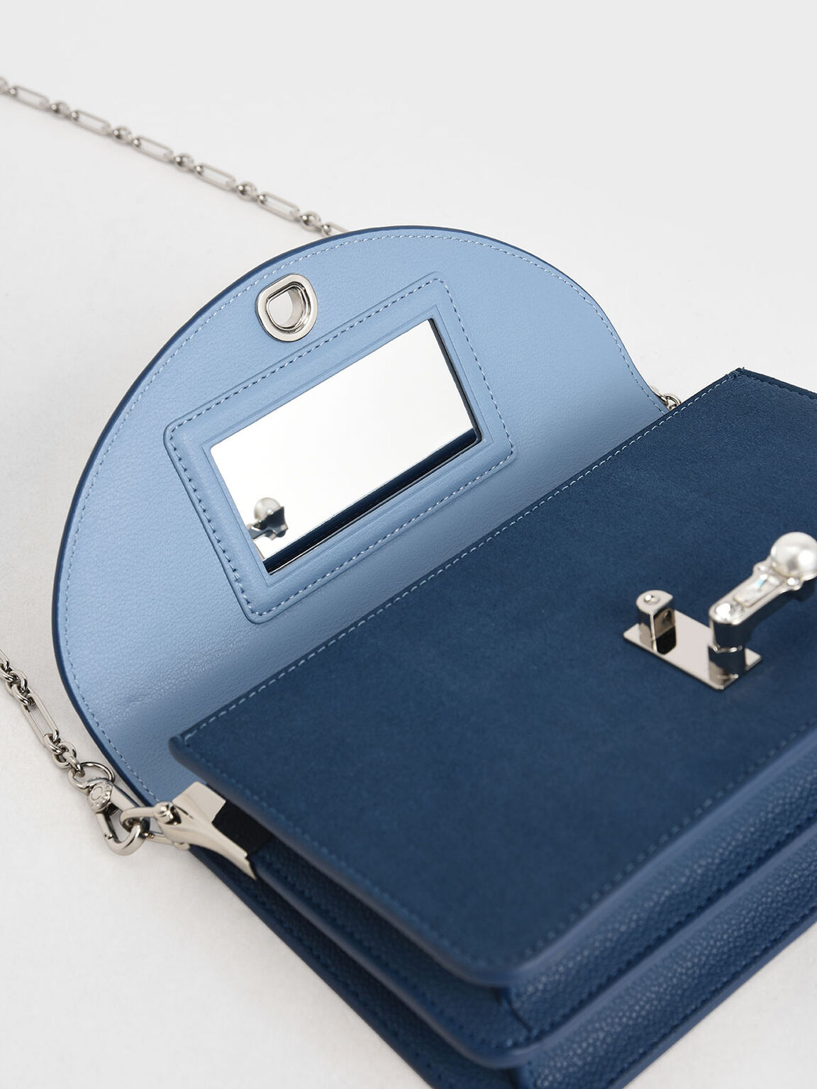 Textured Turn-Lock Clutch, Blue, hi-res