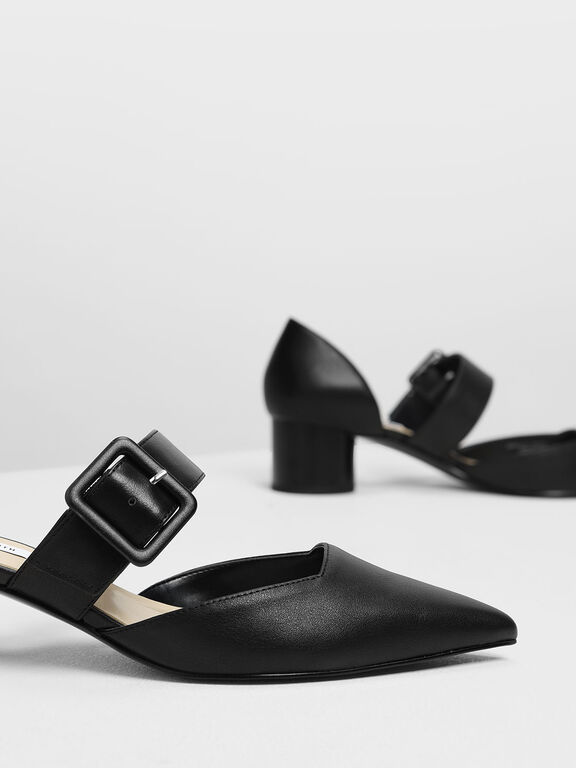 Mary Janes Buckle Pumps, Black, hi-res