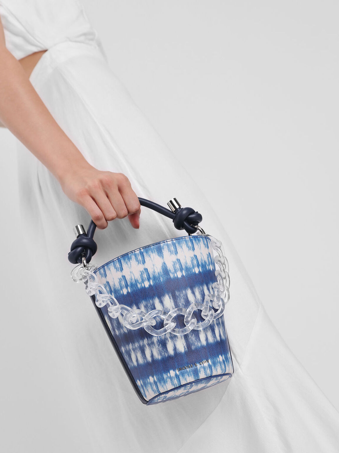 Chunky Chain Printed Bucket Bag, Multi, hi-res