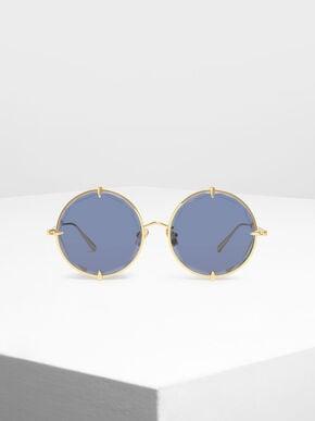 Round Wire Frame Skinny Sunglasses, Blue