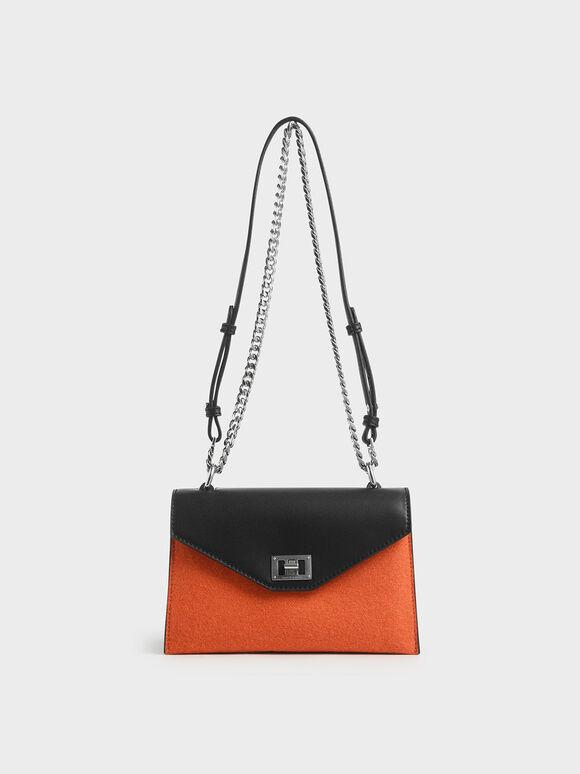 Two-Tone Envelope Bag, Orange, hi-res