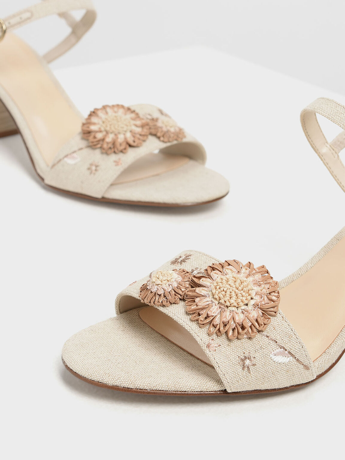 Open Toe Floral Sandals, Taupe, hi-res