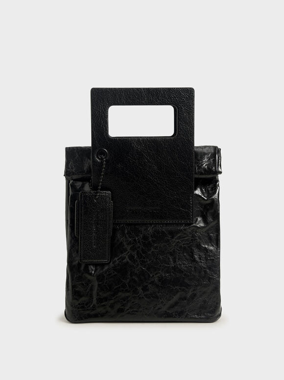 Crumpled-Effect Tote Bag, Black, hi-res