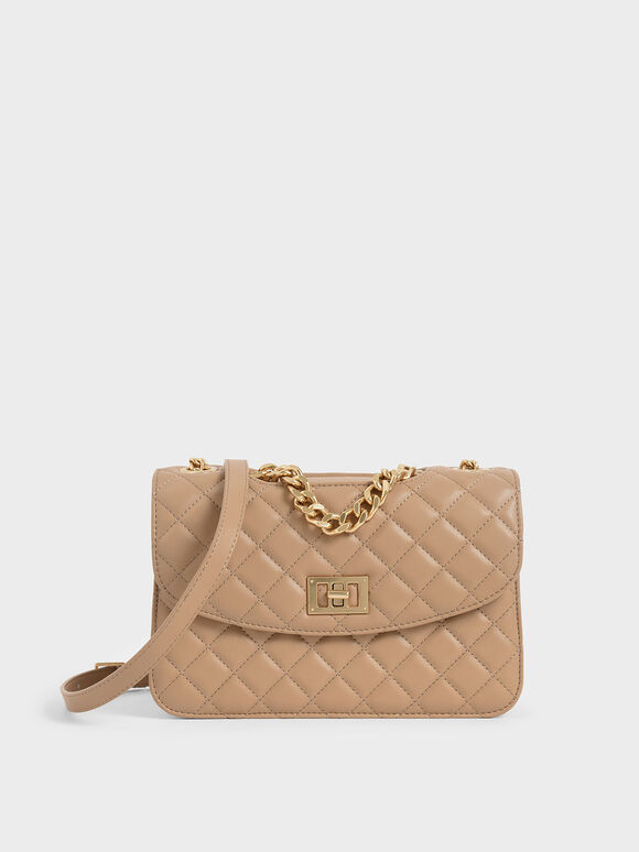 Quilted Turn-Lock Clutch, Beige, hi-res