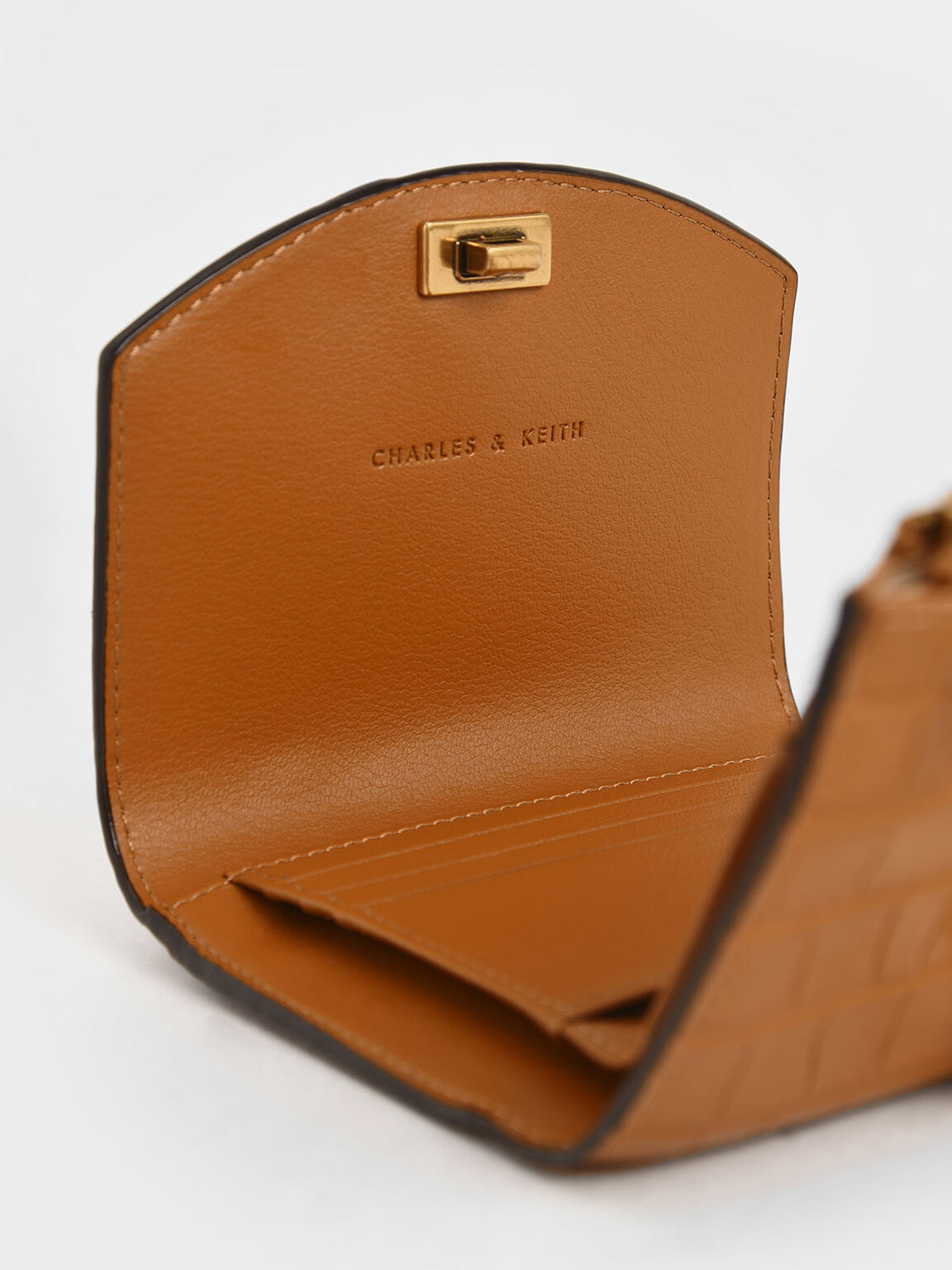 Croc-Effect Push-Lock Mini Wallet, Cognac, hi-res