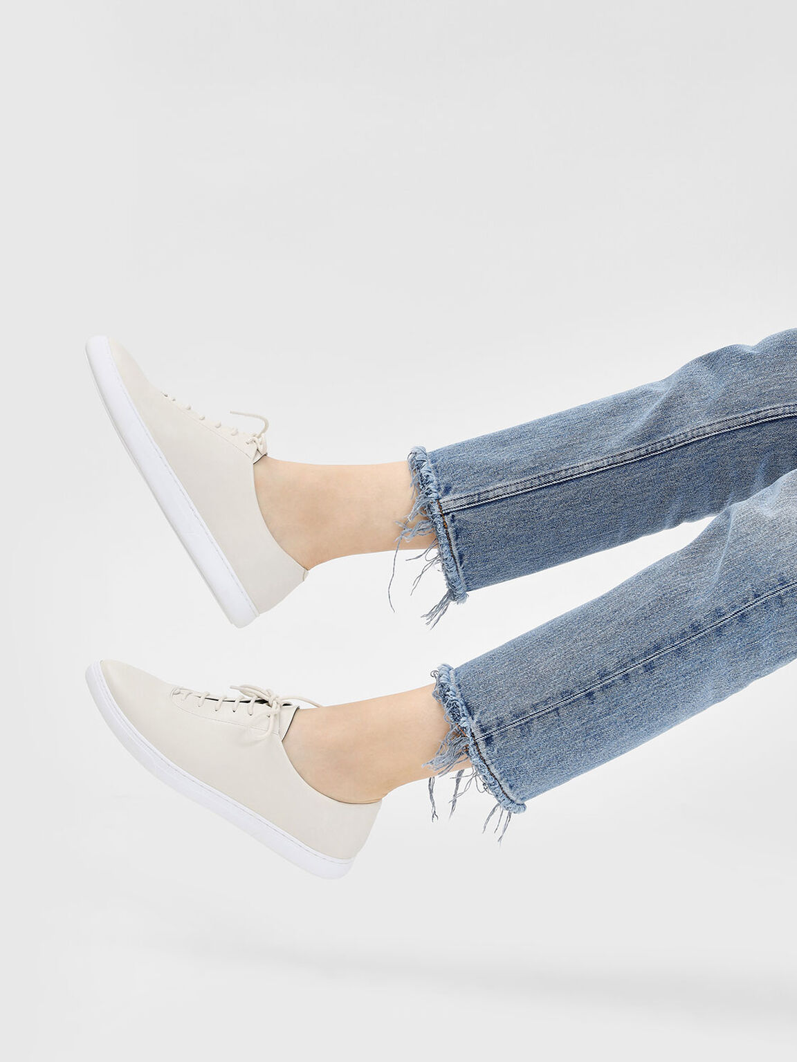 Pointed Sneakers, Cream, hi-res
