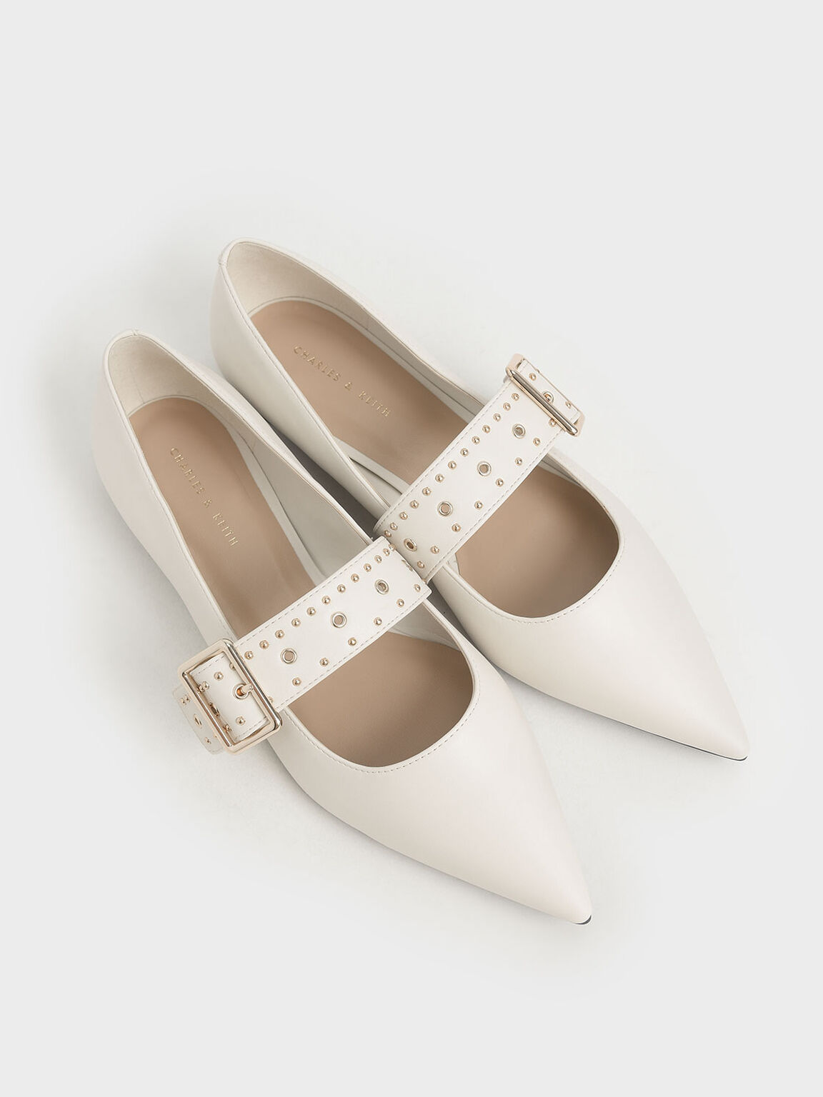Studded Mary Jane Ballerina Flats, Chalk, hi-res