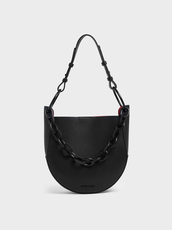 Chunky Chain Link Hobo Bag, Black, hi-res