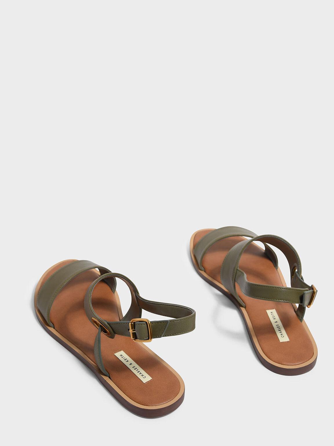 Asymmetrical Slingback Sandals, Olive, hi-res