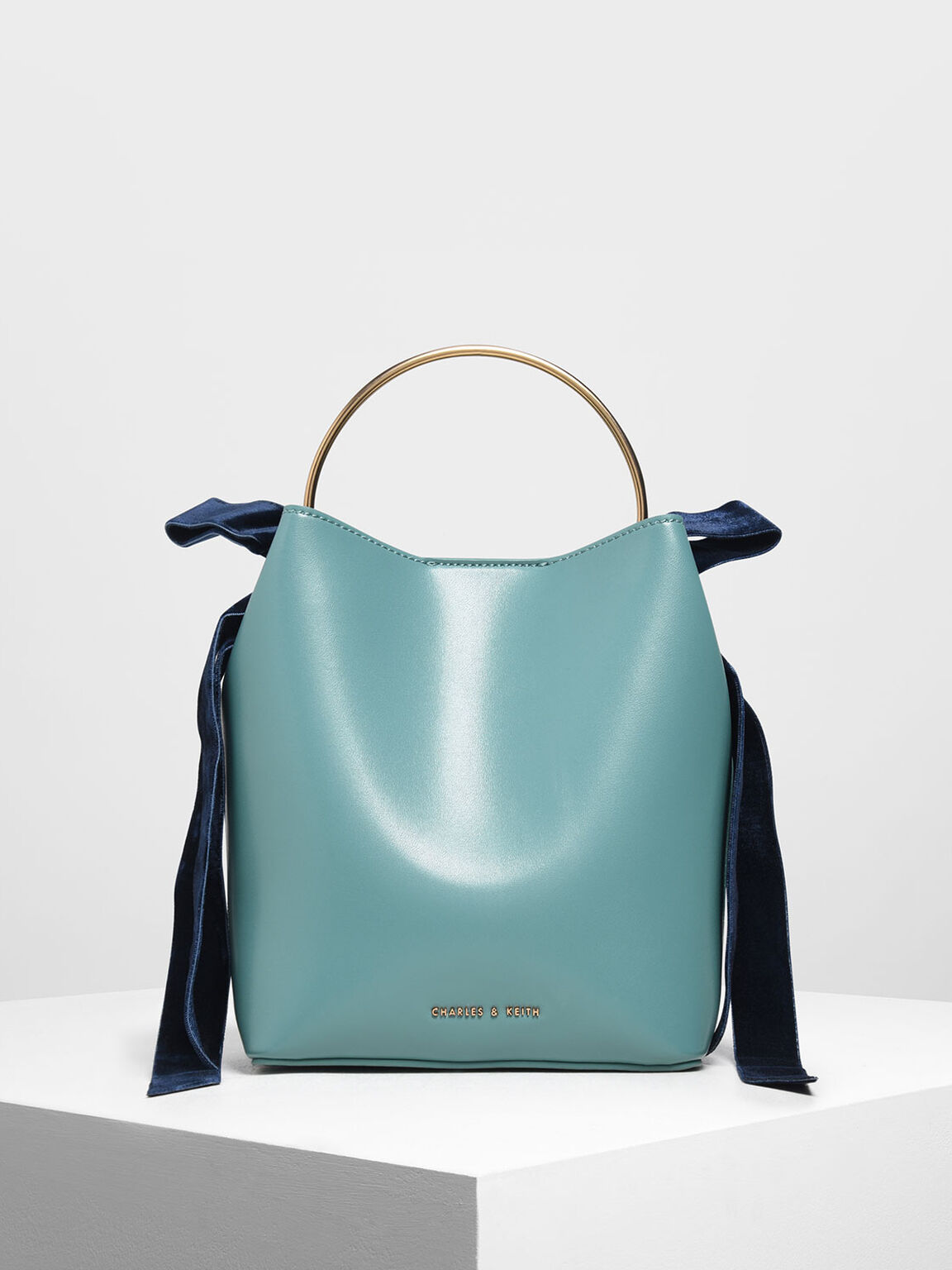 Velvet Bow Bucket Bag, Teal, hi-res