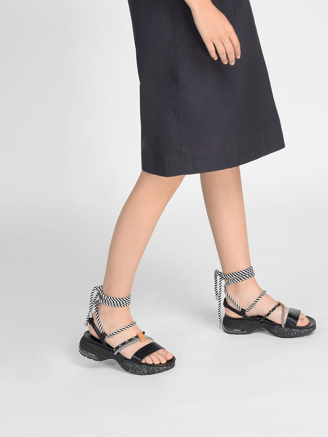 Laced Up Rope Detail Sandals, Black, hi-res