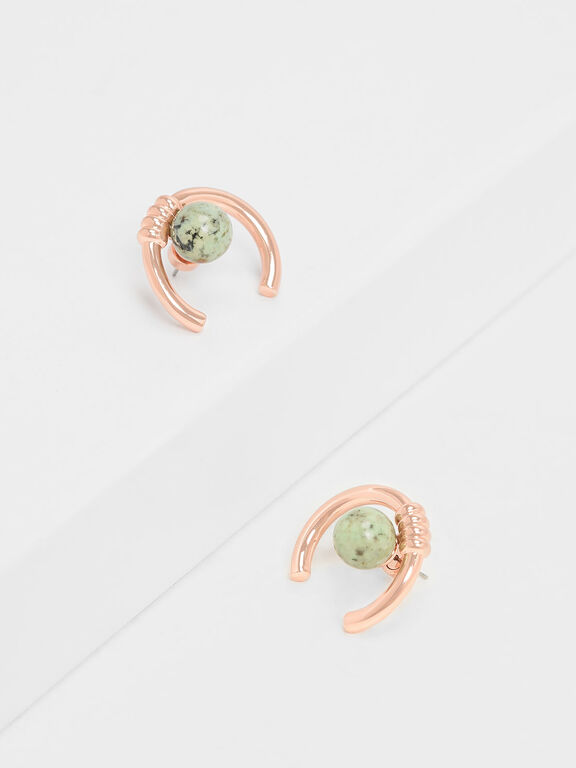 Turquoise Stone Stud Earrings, Rose Gold