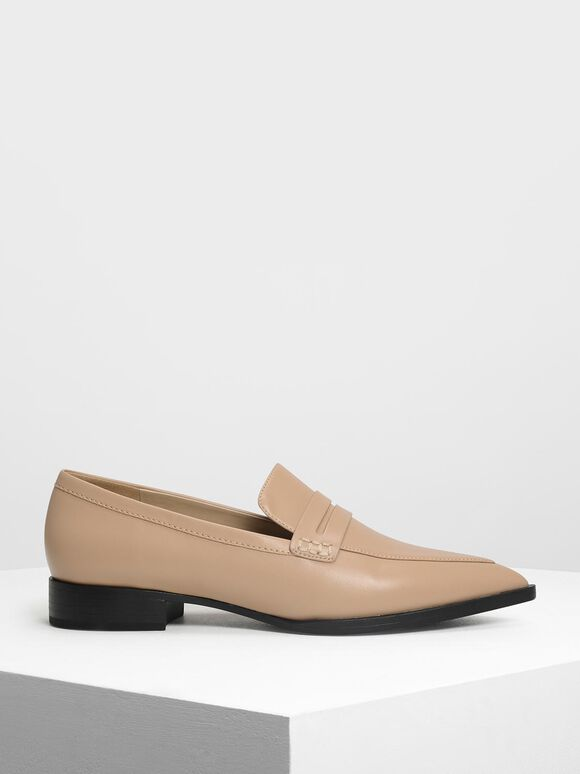 Pointed Penny Loafers, Camel, hi-res