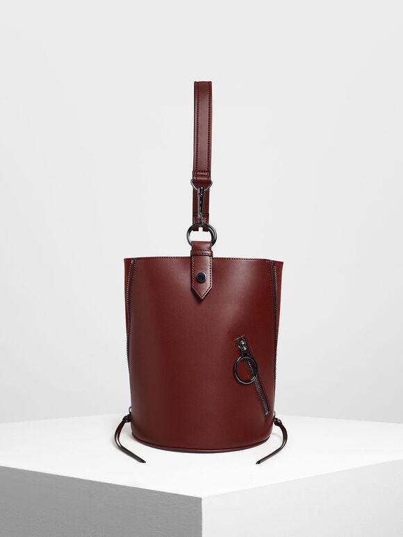 Ring Zip Pocket Geometric Bucket Bag, Burgundy, hi-res