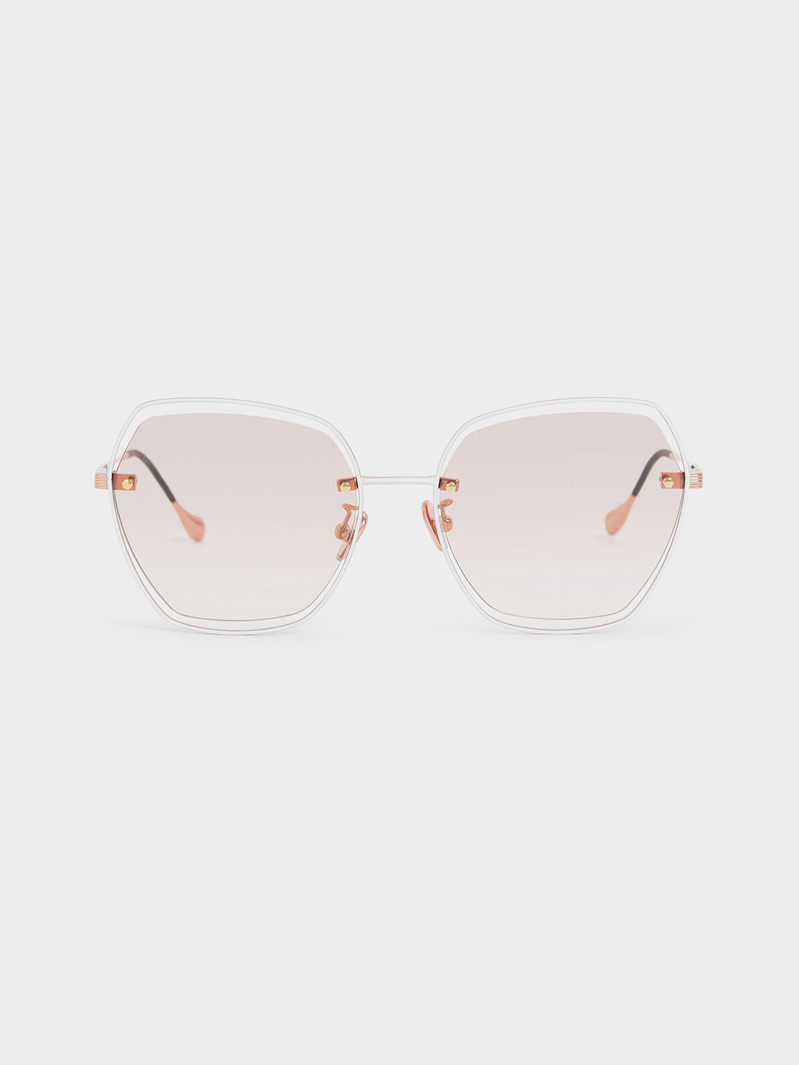 Double Wire Frame Butterfly Sunglasses, Orange, hi-res